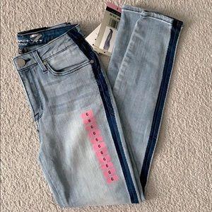Mid rise light wash skinny jean